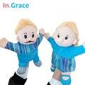 В. Грейс мода милый papamama перчатки-марионеток высокое качество синий ткань игрушки куклы-марионетки для детей играть в игры с ребенком бесплатная доставка