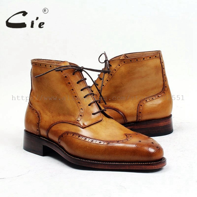 cie round toe full brogues medallion 100%genuine calf leather boot patina brown handmade leather lacing men's ankle boot  A98