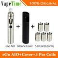 Aio 1500 mah todo en un kit joyetech ego 2 ml 0.6ohm cigarrillo electrónico vaporizador con aio funda de silicona 100% original