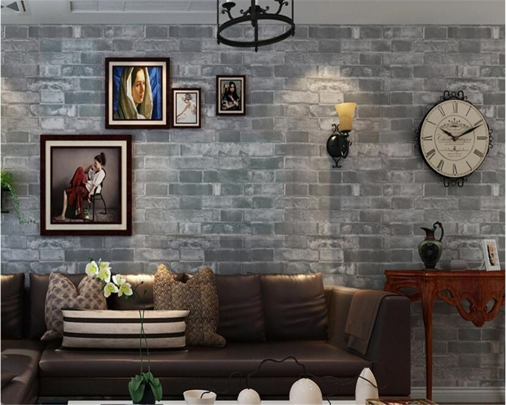 beibehang Gray three-dimensional imitation brick wallpaper PVC classic Chinese living room restaurant retro wall papel de parede