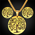 Tree Of Life Jewellery Earrings And Necklace Set Vintage Stainless Steel/ Gold Plated Jewelry Sets Women 2016 GPE2074
