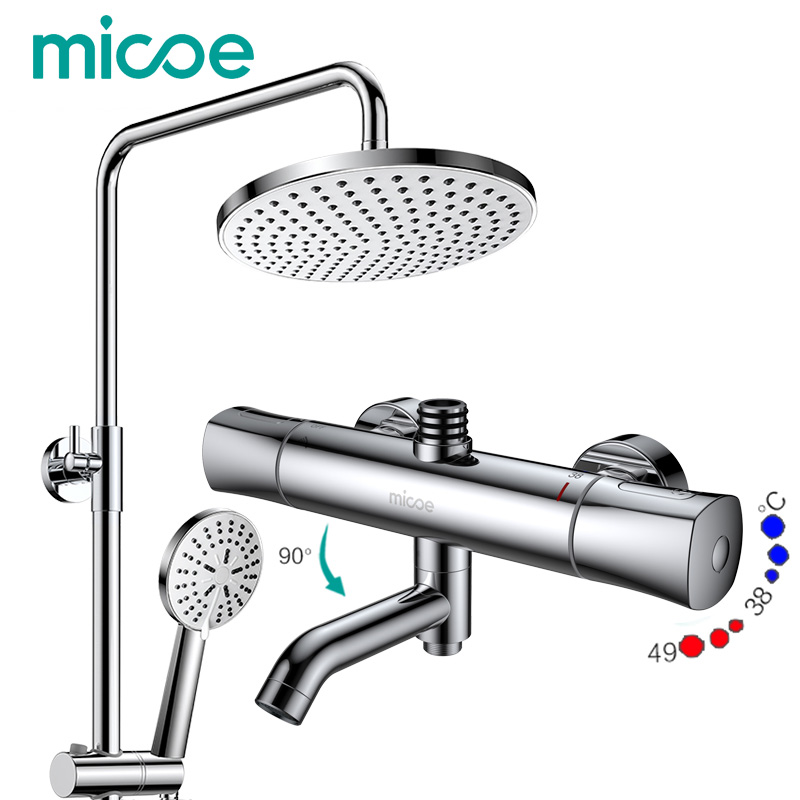 Micoe shower set intelligent thermostatic faucet shower nozzle brass thermostatic mixing valve bathroom faucet bathroom thermostatic shower faucet shower head set wall mount shower faucet mixer brass shower faucet thermostatic mixing valve