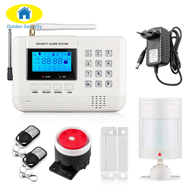 Golden Security Wireless/wired 433 MHz dual-network GSM PSTN Alarm System Home Burglar Security Alarm System Free shipping free shipping guard english french app wireless gsm pstn phone alarm security system built in speaker for intercom security
