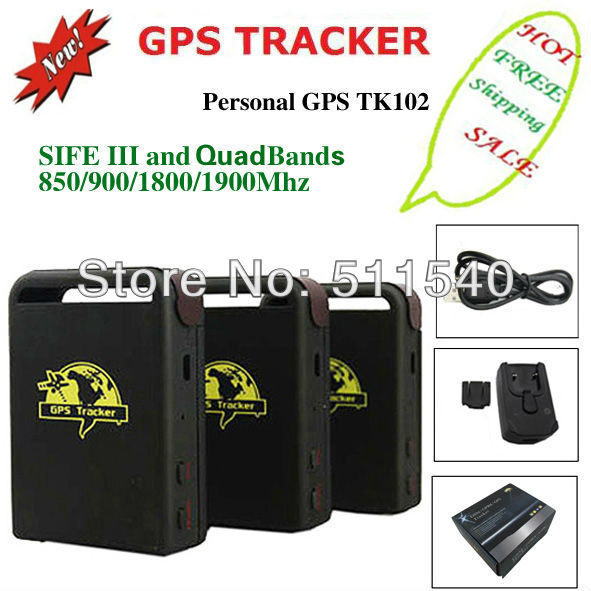 NEWLY vehicle gps tracker TK102 mini personal tracking device Quadbands 850/900/1800/1900MHZ with TF slot DROPSHIP FREE SHIPPING