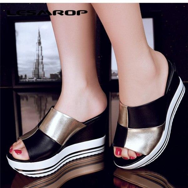 067404b17 Tamanho grande 35 - 44 Brand New sapatos femininos de salto alto sandálias  de couro genuíno