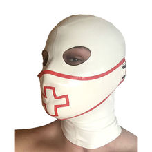 цена на Sexy White Latex Hood Mask with Mouth Cover Rubber Unisex Mask Cosplay Club Wear Latex mask