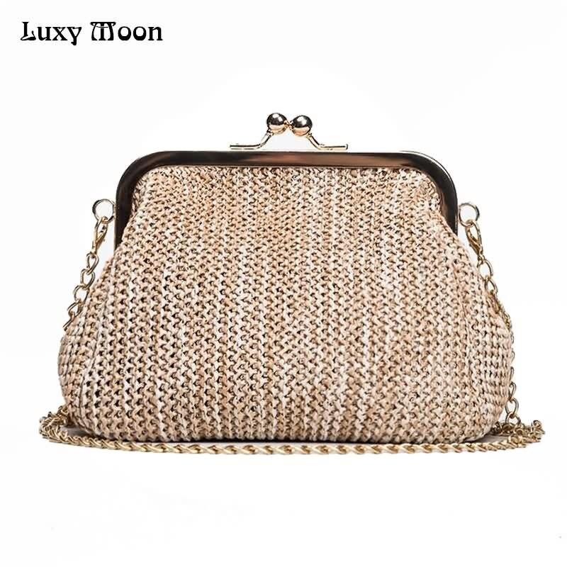 Luxy Moon Handmade Straw Clutch Tote Vintage Women Evening Bag Party Purse Wallet Beach Handbag Chain Lady Messenger Bag ZD784 все цены
