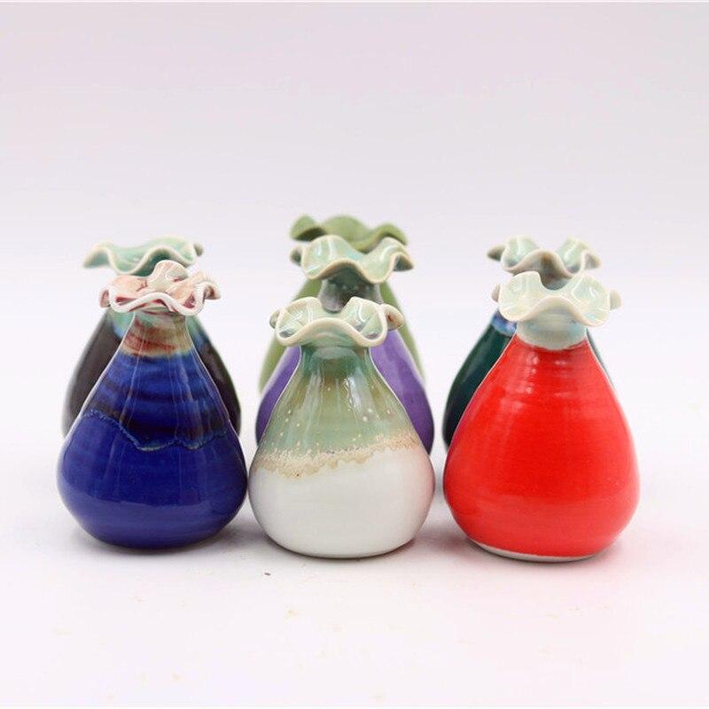 Керамика ручной работы Маленькая ваза маленький цветок печи изменить простой свежий дома рабочего маленькие украшения W $