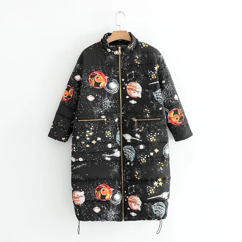 2017 Ultra Light Down Jacket Women Winter Coats Overcoat Starry Sky Print Warm Padded Long Winter Jackets Female Parka