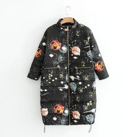 2017 Ultra Light Down Jacket Women Winter Coats Overcoat Starry Sky Print Warm Padded Long Winter Jackets Female Parka
