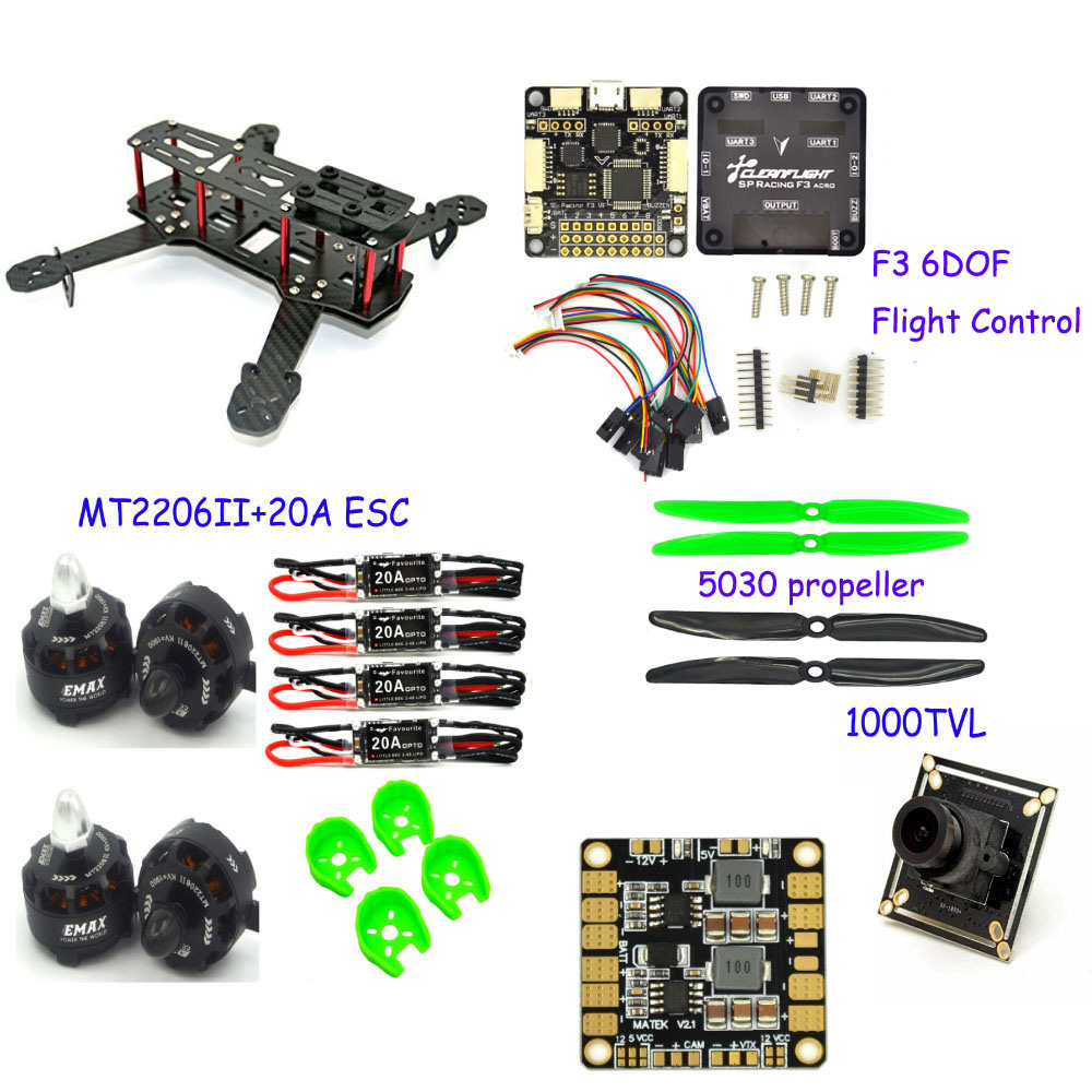 FPV quadcopter QAV250 Carbon fiber 4-axis Frame F3 Acro  6DOF Flight control with MT2206 1900KV motor fvt Littlebee 20A ESC rc plane 210 mm carbon fiber mini quadcopter frame f3 flight controller 2206 1900kv motor 4050 prop rc