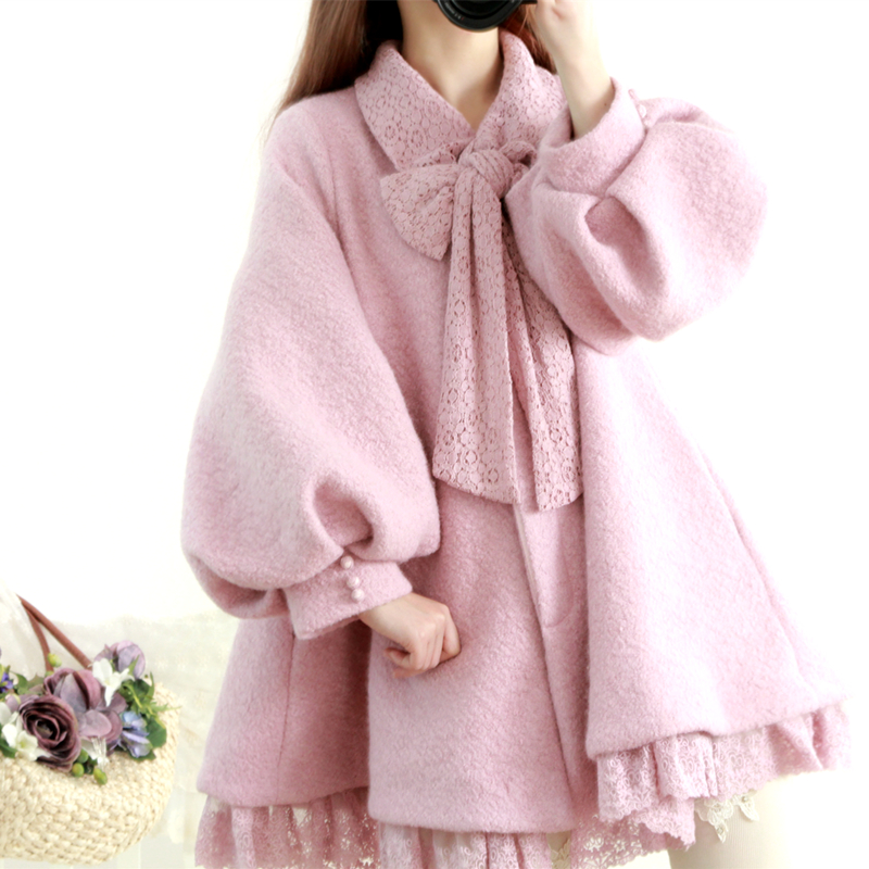 Japan Mori Girl Sweet Bow Lantern Sleeve Lace Woolen Coat Kawaii Mori Lolita Princess Thicken Woolen Jacket Women Casual Coats