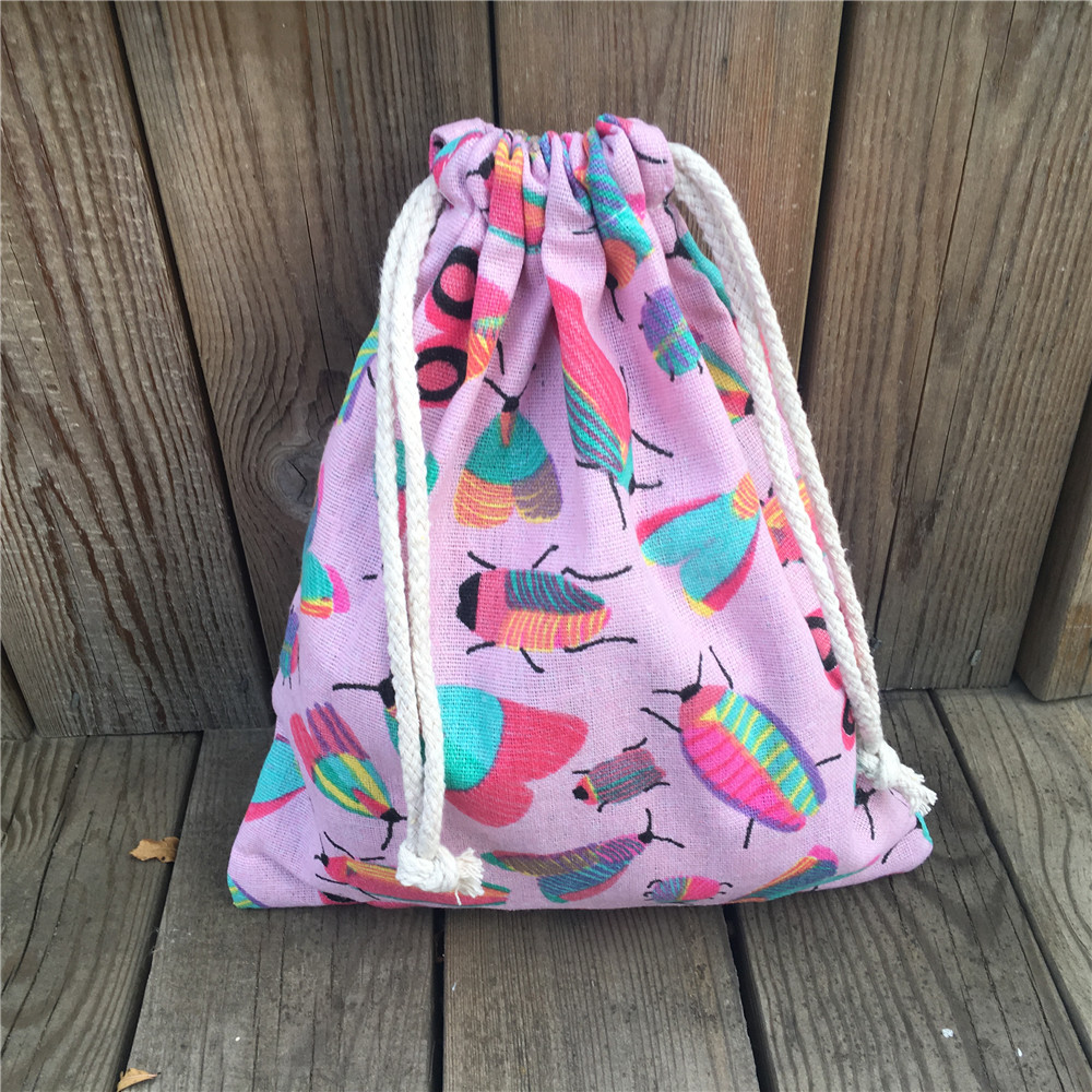 YILE 1pc Cotton Drawstring Pouch Party Gift Bag Print Colorful Insect Pink Base YL81029b