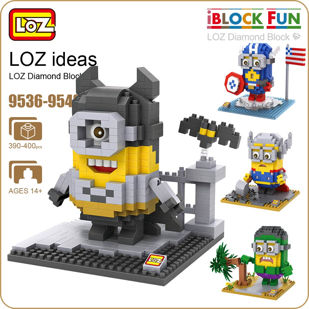 LOZ Diamond Blocks Super Heroes Figuras Plastic Assembly Toys Cartoon Pixels Action Figures Creative Gift Educational 9536-9543 loz diamond blocks figuras classic anime figures toys captain football player blocks i block fun toys ideas nano bricks 9548
