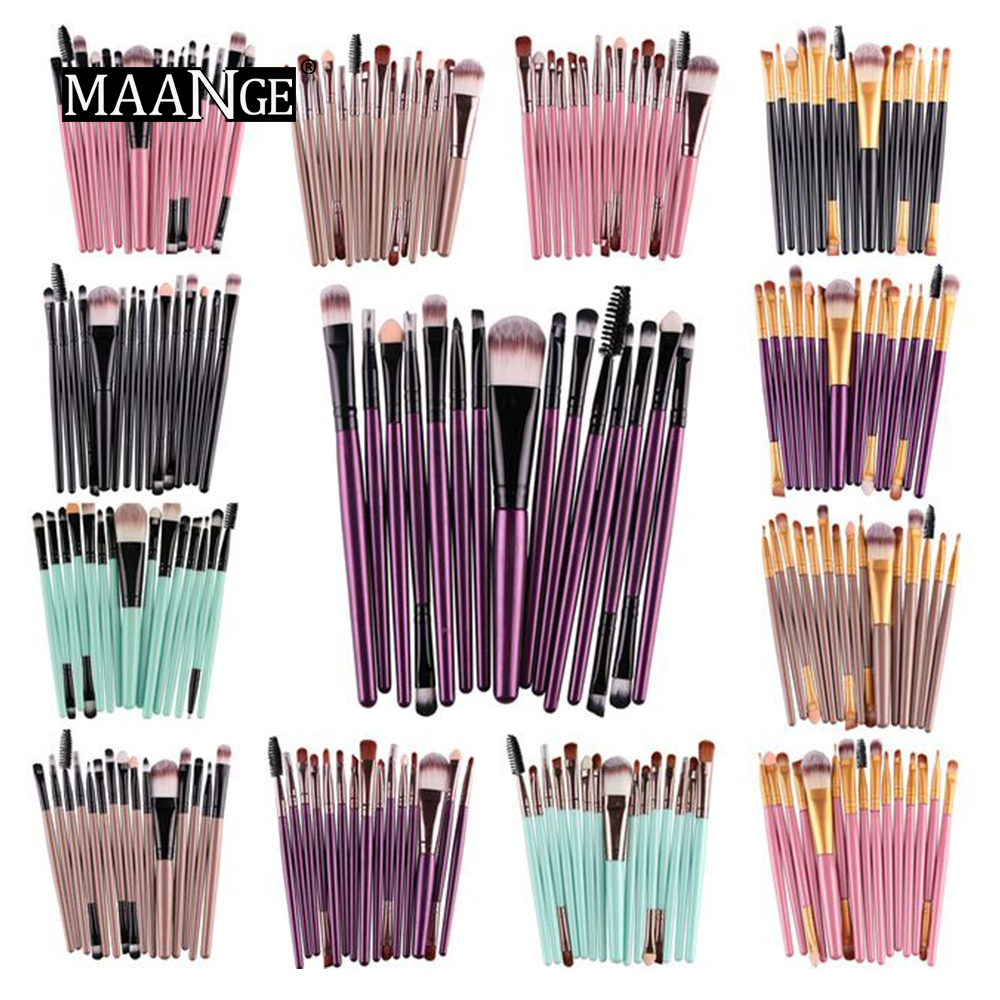 MAANGE Pro 15Pcs Makeup Brushes Set Eye Shadow Foundation Powder Eyeliner Eyelash Lip Make Up Brush Cosmetic Beauty Tool Kit Hot(China)