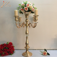 Golden Candelabra Flower Rack 5 Heads Candle Holder Table Wedding Centerpiece Party and Event Candlesticks Home Decoration