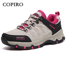 COPIRO Clorts Women Hiking Shoes Outdoor Trekking Spring Real Leather Lace-Up Walking Climbing Sneakers Zapatos Impermeables