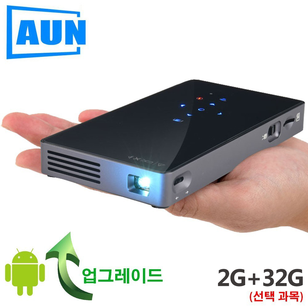 AUN projecteur intelligent, D5S, Android 7.1 (Optiona 2G + 32G) WIFI, Bluetooth, HDMI, Mini projecteur Home cinéma, cinéma 3D