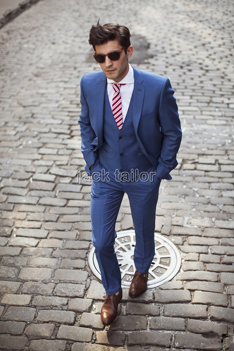 Online Shop 2015 New Notch Lapel light Blue Groom Tuxedos Slim Fit ...
