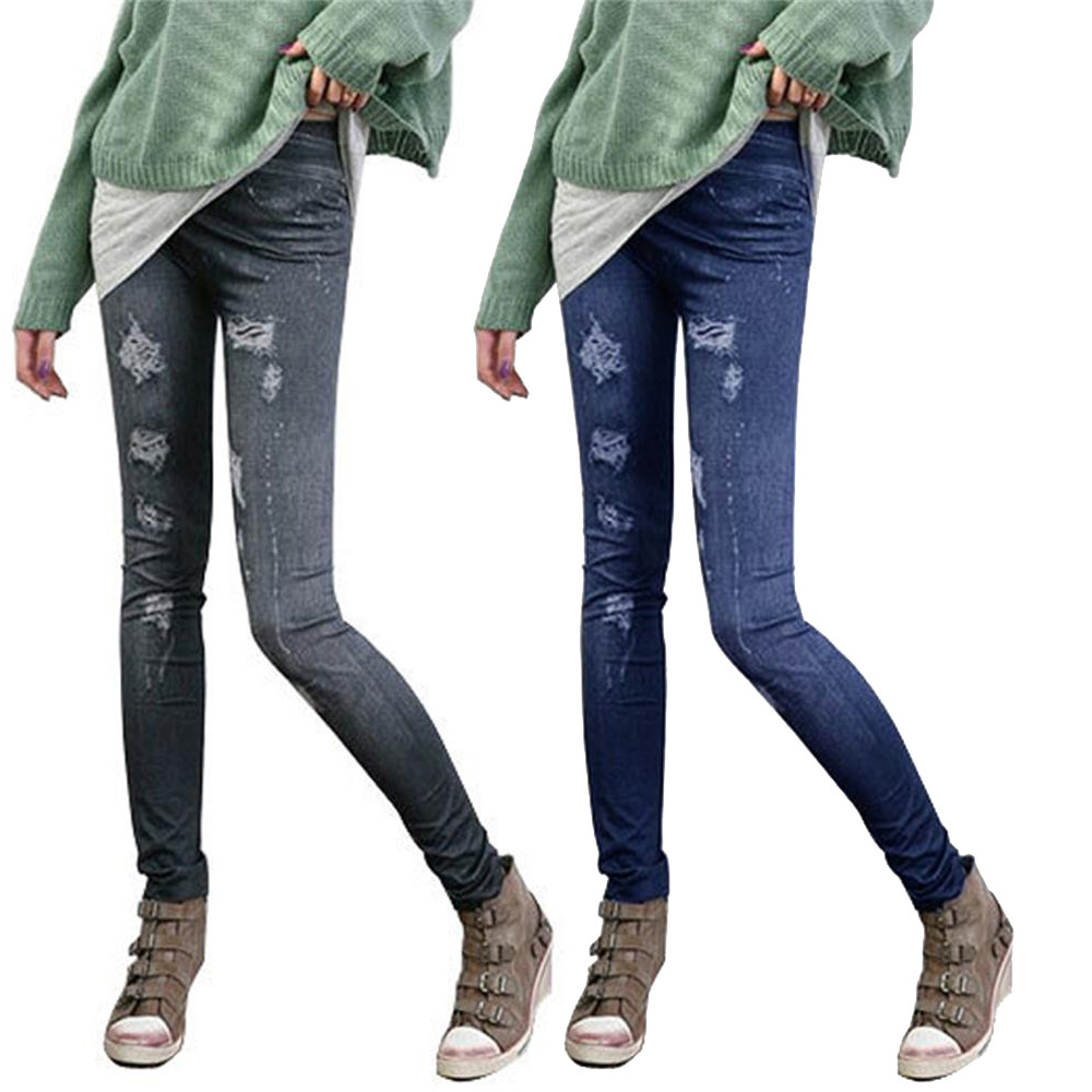 Fashion Slim Women Leggings Faux Denim Jeans Leggings Sexy Long Pocket Printing Summer Leggings Casual Pencil Pants Plus Size YL