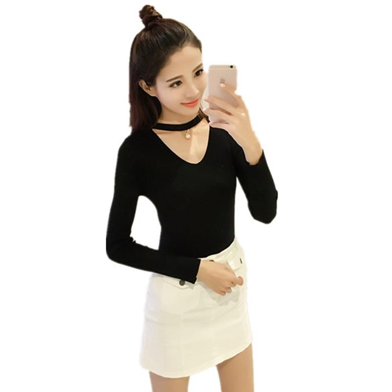 2017 autumn winter knitting v neck long sleeve tshirt women fashion choker top t shirt women. Black Bedroom Furniture Sets. Home Design Ideas
