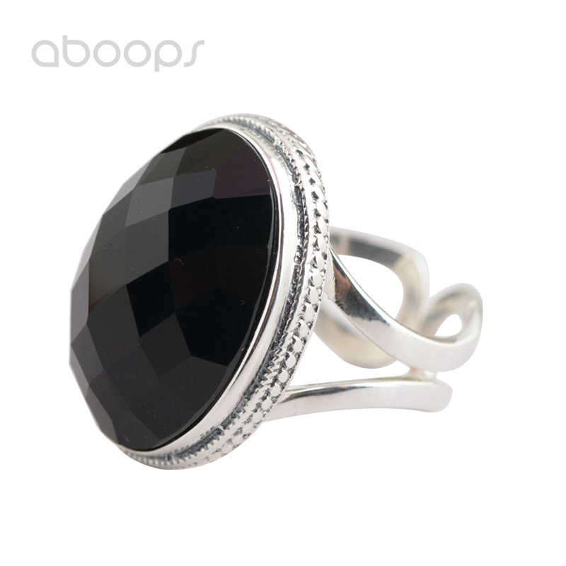 Vintage 925 Sterling Silver Oval Black Faceted Onyx Solitaire Ring for Women Girls Adjustable Free Shipping vintage oval carved ring for women