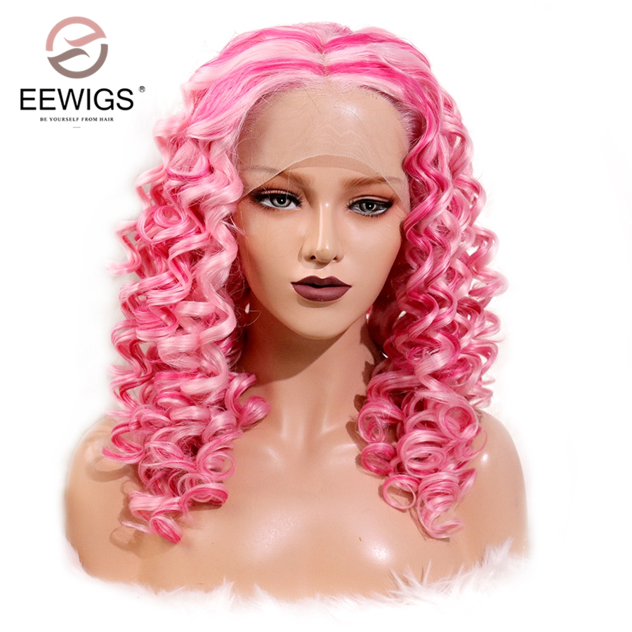 EEWIGS Glueless White Rose Pink Color Wig Heat Resistant Curly Wigs Synthetic Lace Front Wig for Black Women Drag Queen Hair