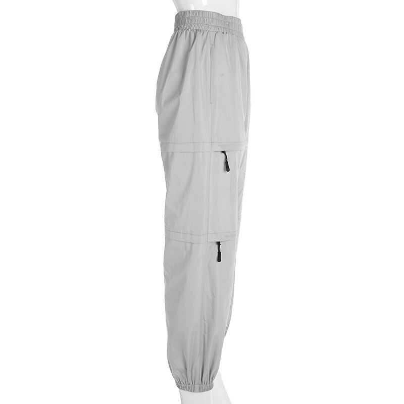 Weekeep, женские модные лоскутные брюки на молнии, высокая талия, уличная одежда, узкие брюки, эластичная талия, свободные женские брюки