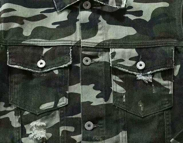 5928abe4c0 men and women washed ripped scratched camo denim jacket with back embroidery