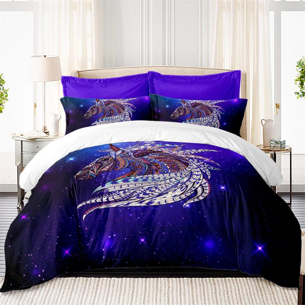 Cool Horse Bedding Set Colorful Animal Print Duvet Cover