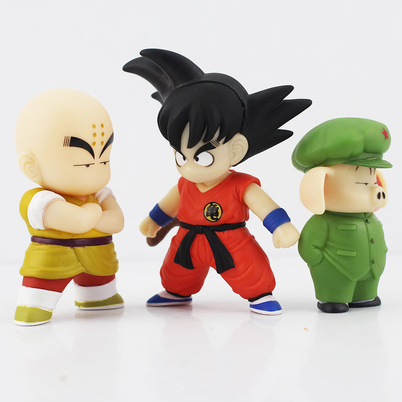 3pcs Set Anime Dragon Ball Goku Kuririn Oolong PVC Action Figure DBZ Dragonball Cartoon Collection Model Doll Toys for boys 12cm 1 pcs anime dragon ball z toy figure super saiyan goku pvc action figures big size dragonball model toys for boys kids wholesale