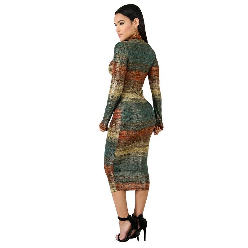 Hipster градиент с принтом в полоску платье миди Для женщин Повседневное стенд с длинным рукавом облегающее платье Леди Осень Тонкий вечерние платья