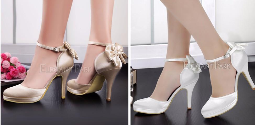 White Ivory Woman Shoes High Heel Platform Wedding Bridal Satin Bride  Ladies Prom Evening Party Dress Pumps EP2015NW Navy SilverUSD 48.15 pair 0ac99030e983