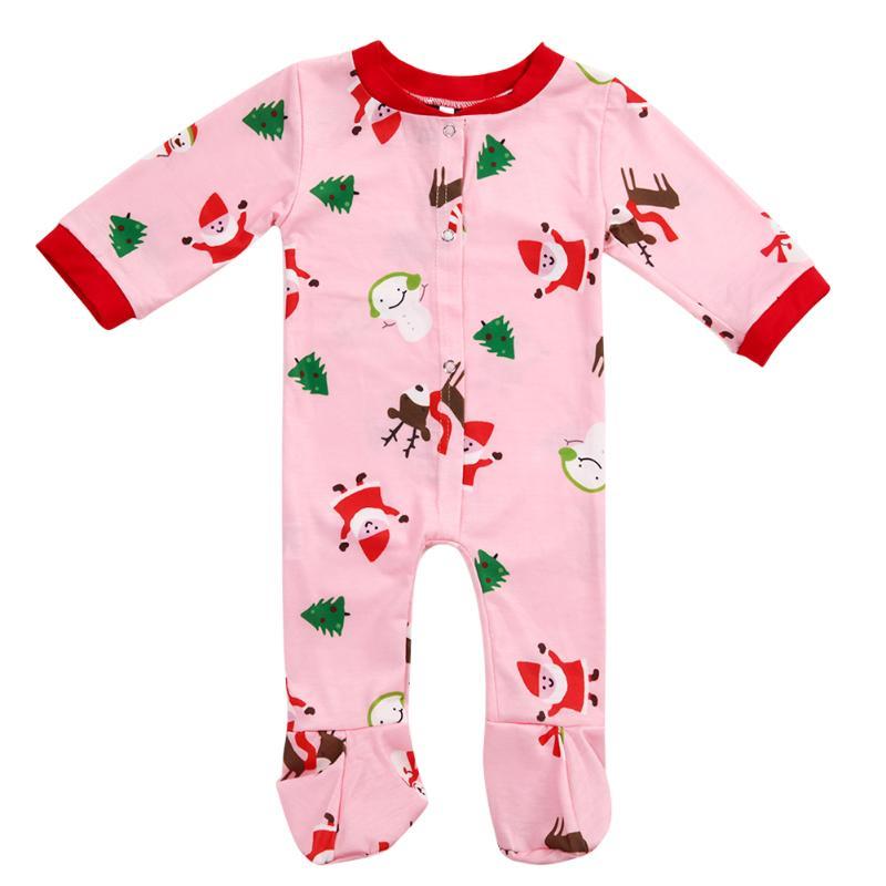 Hell Familie Pyjama Set Weihnachten Niedliche Digitale Gedruckt Baby Strampler Overall 2017 Winter Familie Passende Kleidung Familie Schauen Kleidung Neueste Technik
