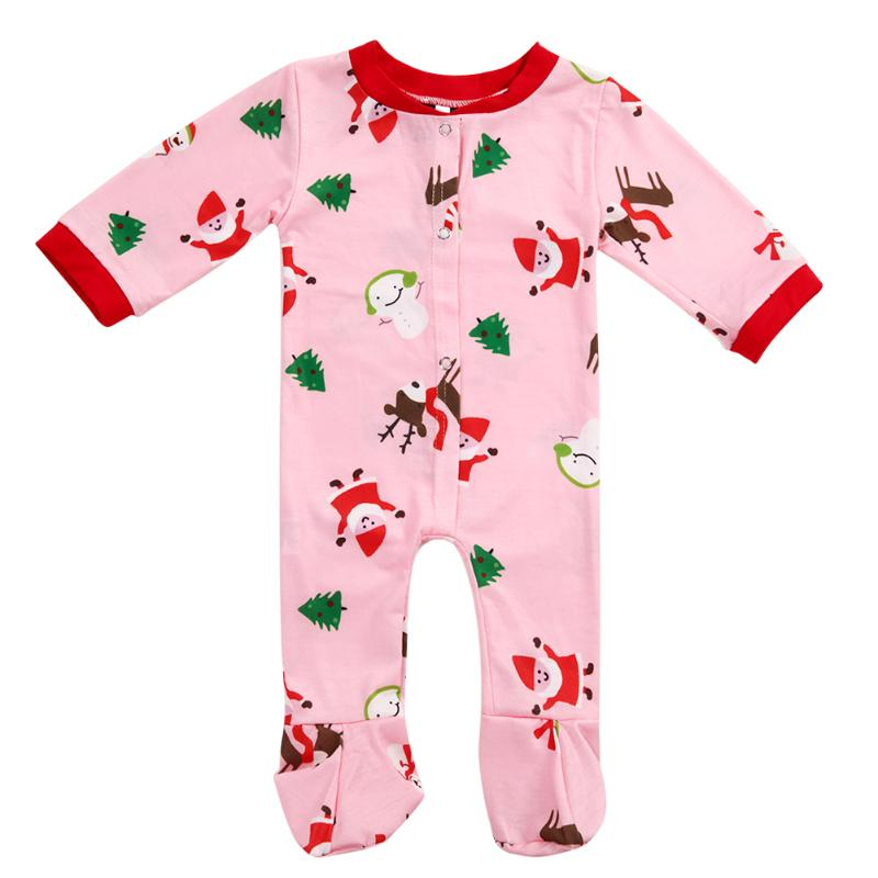 Family Christmas Pajamas Set Cute Digital Printed Baby Romper Jumpsuit 2017 Winter Family Matching Clothing Family Look Clothes