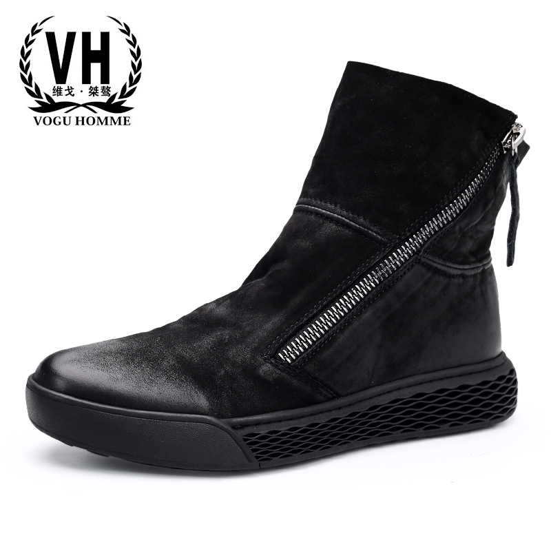 high-top shoes men autumn winter British retro new casual fashion autumn winter British retro Martin boots zipper Chelsea boots army martin winter boots 2017 new autumn winter british retro men shoes zipper leather shoes breathable fashion boots men