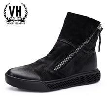 ccfabb87e High-top sapatos homens outono inverno Britânico retro nova moda casual  outono inverno Britânico retro Martin botas zipper botas.