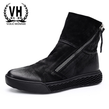 high-top shoes men autumn winter British retro new casual fashion autumn winter British retro Riding boots zipper Chelsea boots new autumn winter british retro high male boots leather cowhide cashmere zipper leather shoes breathable fashion boots men