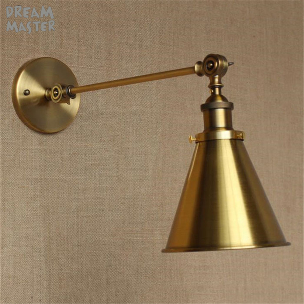 Retro Industrial Golden Adjustable Swing Arm Wall sconces light Wall lamp Lighting Fixture  abajur para quarto penteadeiraRetro Industrial Golden Adjustable Swing Arm Wall sconces light Wall lamp Lighting Fixture  abajur para quarto penteadeira