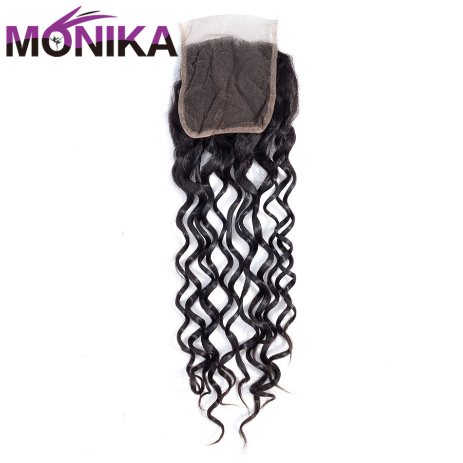 Monika Malaysian Hair Water Wave Lace Closure with Natural Color 100% Human Hair Non-Remy Free Shipping