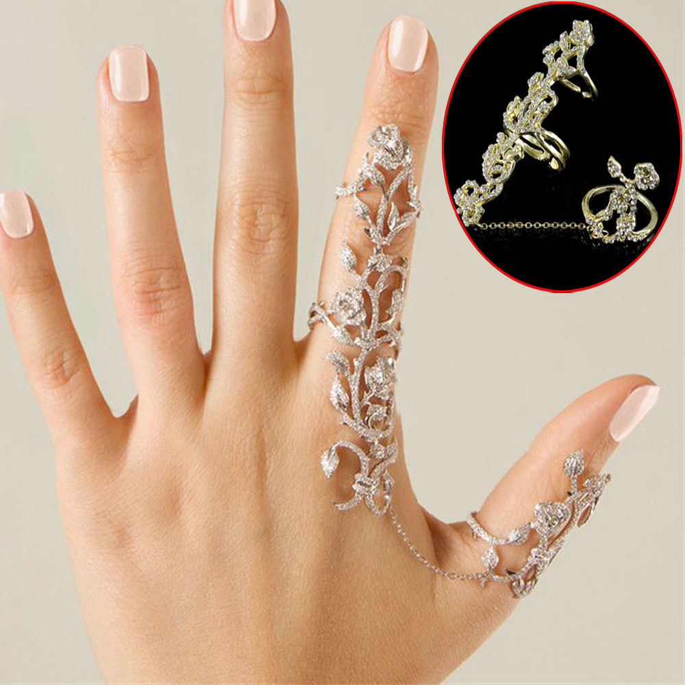Women's Double Finger Ring Thumb Ring Link Ring Joint Crystal Rhinestone Rings