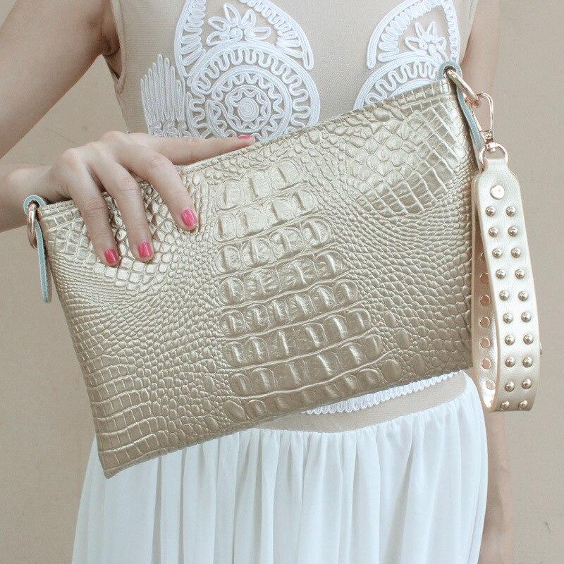 Высококачественный Женский Повседневный клатч, женская сумка-мессенджер из крокодиловой кожи, сумки-клатчи, вечерние сумки, заклепочная рукоять - Цвет: Золотой