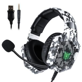 ONIKUMA K8 Gaming Headset Wired Stereo Headphones Noise-canceling With Mic LED Lights Earphone For PS4 XBox One PC Laptop Tablet