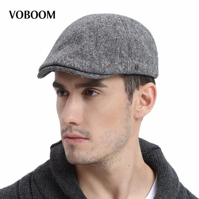 VOBOOM Winter Warm Wool Beret Men Tweed Ivy Flat Cabbie Cap for Male  Newsboy Autumn Boina 180 4473a776be6