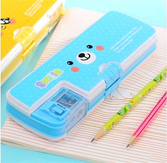 цена на Cute kawaii pencil case multifunction 2 layers pencil box with pencil sharpener school penalty chancery estuche escolar kutusu
