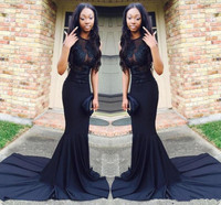 Sexy African Black Mermaid Prom Dresses 2017 Court Train See Through Long Satin Evening Gowns O