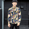 2016 Flowers Shirts Mens Fancy Pattern Camisa Psg Floral Printing Long-sleeve Blouses Plus Size Big Shirts 5XL Slim Fit Social