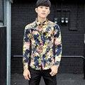 2016 Patrón de Flores Camisetas Para Hombre de Lujo Camisa Psg Floral Impresión de manga Larga Blusas Tallas Grandes Camisas 5XL Delgado ajuste Social