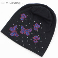 2016 Womens Slouch Beanie Hats Autumn Winter Soft Cotton Skullies Hat Butterfly Rhinestone Baggy Knitting Hats Long Black Beanie