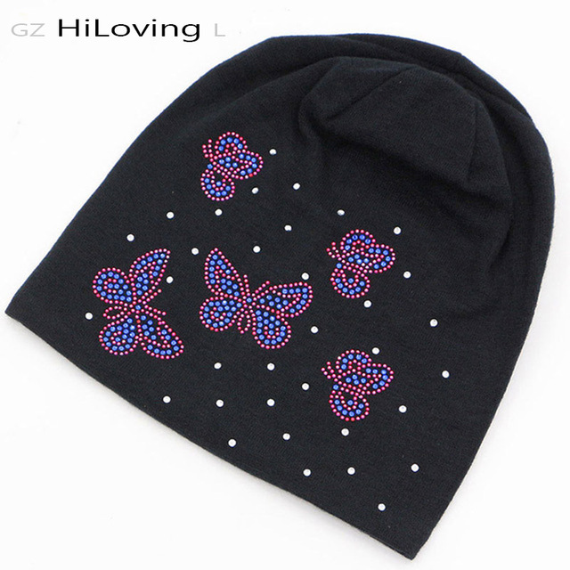 2016 Womens Slouch Beanie Hats Autumn Winter Soft Cotton Skullies Hat  Butterfly Rhinestone Baggy Knitting Hats 9630b40d576a